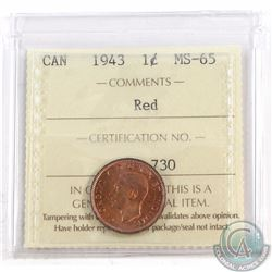1-cent 1943 ICCS Certified MS-65 Red.