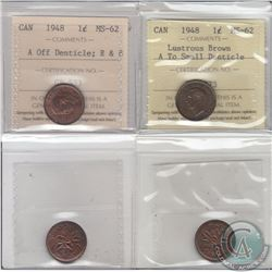 1-cent 1948 A off Denticle ICCS Certified MS-62 Red and Brown & 1948 A to Small Denticle MS-62 Lustr