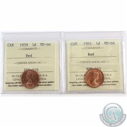 1-cent 1959 & 1964 ICCS Certified MS-66 Red. 2pcs
