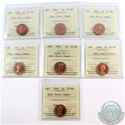 1-cent 1959, 1962, 1963, 1964, 1965 smBds Blt 5, 1966, 1969 ICCS Certified PL-66 Red; Heavy Cameo. 7