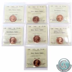 1-cent 1961, 1962, 1963, 1965 Small Beads Blunt 5, 1966, 1969 & 1971 ICCS Certified PL-66 Red Heavy