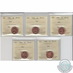 1-cent 1961, 1962, 1964, 1967, 1968 ICCS Certified MS-65 Red. 5pcs.