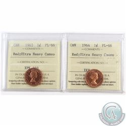 1-cent 1963 & 1964 ICCS Certified PL-66 Red; Ultra Heavy Cameo