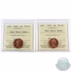 1-cent 1963 & 1972 ICCS Certified PL-67 Red; Heavy Cameo. Both Coins are tied for the Finest known b