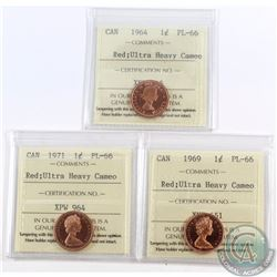 1-cent 1964, 1969, 1971 ICCS Certified PL-66 Red; Ultra Heavy Cameo. 3pcs.