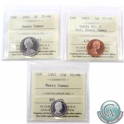 1-cent 1965 Small Beads Blunt 5, 5-cent & 10-cent ICCS Certified PL-66 Heavy Cameo. 5-cent is tied f