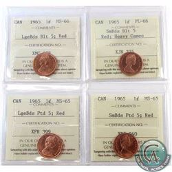 1-cent 1965 Small Beads Blunt 5 ICCS Certified PL-66 Heavy Cameo, 1965 Large Beads Blunt 5 MS-66, 19