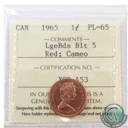 1-cent 1965 Large Beads Blunt 5 ICCS Certified PL-65 Red Cameo