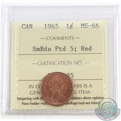 1-cent 1965 SmBds Ptd 5 ICCS Certified MS-66 Red