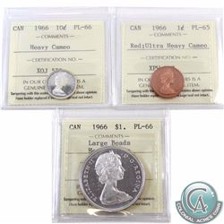1-cent 1966 ICCS Certified PL-65 Ultra Heavy Cameo, 10-cent PL-66 Heavy Cameo & $1 Large Beads PL-66