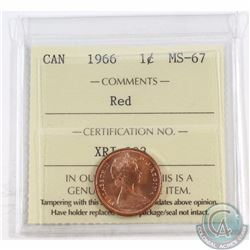 1-cent 1966 ICCS Certified MS-67 Red. Solo Finest Known by ICCS.