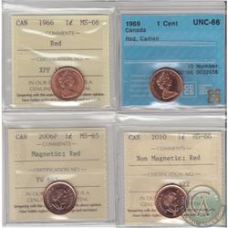 1-cent 1966 ICCS Certified MS-66 Red, 1969 CCCS Certified UNC-66 Red Cameo, 2006P Magnetic ICCS MS-6