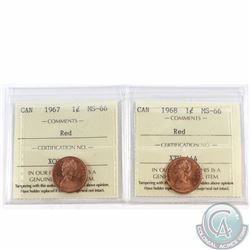 1-cent 1967 & 1968 ICCS Certified MS-66 Red. 2pcs.