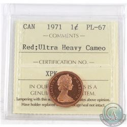 1-cent 1971 ICCS Certified PL-67 Red; Ultra Heavy Cameo. Finest Known by ICCS