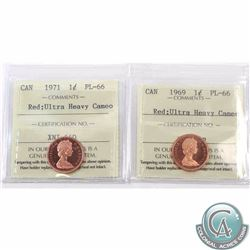 1-cent 1969 & 1971 ICCS Certified PL-66 Red Ultra Heavy Cameo. 2pcs