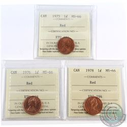 1-cent 1975, 1976 & 1978 ICCS Certified MS-66. 1976 is tied for the finest known. 3pcs