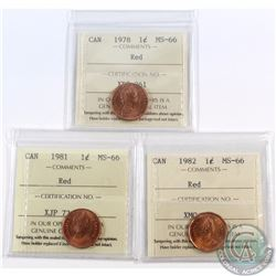 1-cent 1978, 1981, & 1982 ICCS Certified MS-66 Red. 3pcs.