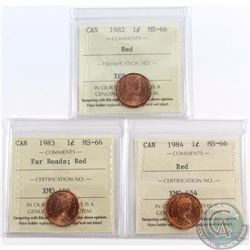 1-cent 1982, 1983 Far Beads, 1984 ICCS Certified MS-66 Red. 3pcs.