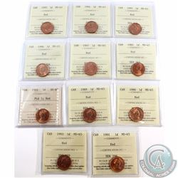 1-cent 1982, 1985 Ptd 5, 1989, 1990, 1991, 1992, 1993, 1994, 1995, 1996, 1997 ICCS Certified MS-65 R
