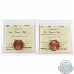 1-cent 1983 Near Beads & 1983 Far Beads ICCS Certified MS-66 Red. 2pcs