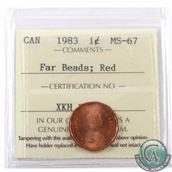 1-cent 1983 Far Beads ICCS Certified MS-67 Red