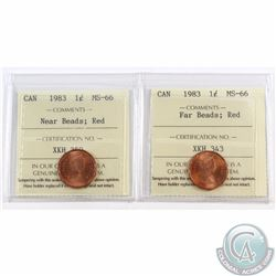 1-cent 1983 Far Beads & 1983 Near Beads ICCS Certified MS-66 Red. 2pcs.