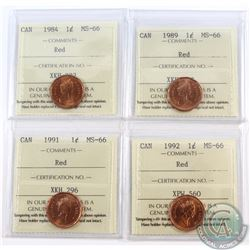 1-cent 1984, 1989, 1991, & 1992 ICCS Certified MS-66 Red. 4pcs.
