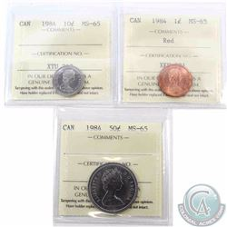 1-cent, 10-cent & 50-cent 1984 ICCS Certified MS-65. 3pcs