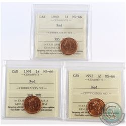 1-cent 1989, 1991, 1992 ICCS Certified MS-66 Red. 3pcs.