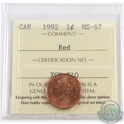 1-cent 1992 ICCS Certified MS-67. Tied for the finest known