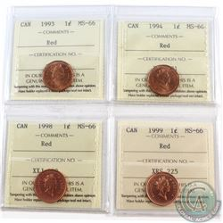 1-cent 1993, 1994, 1998, 1999 ICCS Certified MS-66 Red. 4pcs.