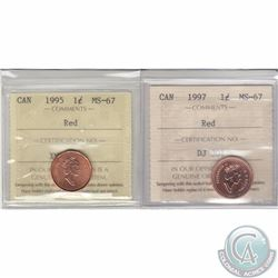1-cent 1995 & 1997 ICCS Certified MS-67 Red. 2pcs