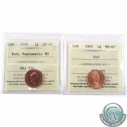 1-cent 1997 & 1999 Numismatic BU ICCS Certified MS-67 Red. Both are tied for finest known. 2pcs