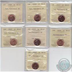 1-cent 1998W, 2000W, 2001P, 2002P, 2003P, 2005P & 2006P ICCS Certified MS-67 Numismatic BU. 7pcs