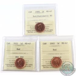 1-cent 1999 NBU, 2001, 2002 ICCS Certified MS-67 Red. 3pcs.