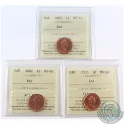 1-cent 2001, 2002, & 2003 ICCS Certified MS-67 Red. 3pcs.