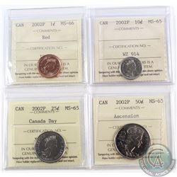 1-cent (MS-66), 10-cent, 25-cent Canada Day & 50-cent Ascension 2002P ICCS Certified MS-65. 4pcs