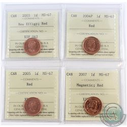 1-cent 2003 New Effigy, 2004P, 2005, & 2007 Magnetic ICCS Certified MS-67 Red. 4pcs.