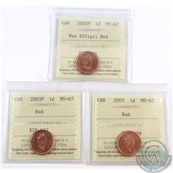 1-cent 2003, 2003P, 2003P New Effigy ICCS Certified MS-67 Red. 3pcs.