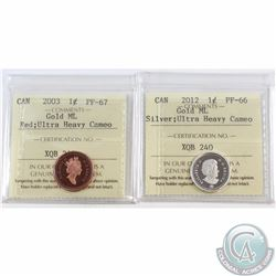 1-cent 2003 Gold ML ICCS Certified PF-67 Red Ultra Heavy Cameo & 2012 Gold ML Silver PF-66 Ultra Hea