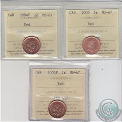 1-cent 2004P, 2005, 2005P ICCS Certified MS-67 Red. 3pcs.