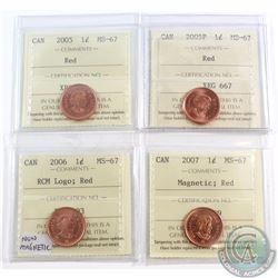 1-cent 2005, 2005P, 2006 RCM Logo, 2007 Magnetic, ICCS Certified MS-67 Red. 4pcs.