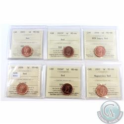 1-cent 2005, 2005P, 2006 RCM Logo, 2006 Non Mag., 2006P, 2007 Mag. ICCS Certified MS-66 Red. 6pcs.