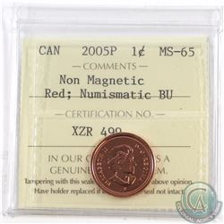 1-cent 2005P Non Magnetic ICCS Certified MS-65 Red Numismatic BU