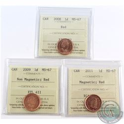 1-cent 2008, 2009 Non Mag., 2011 Mag., ICCS Certified MS-67 Red. 3pcs.