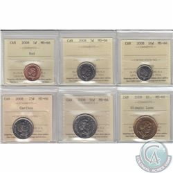 1-cent, 5-cent, 10-cent, 25-cent, 50-cent & Olympic Loon $1 2008 ICCS Certified MS-66. 6pcs