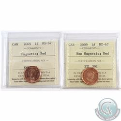 1-cent 2009 Magnetic & 2009 Non Magnetic ICCS Certified MS-67 Red. 2pcs.