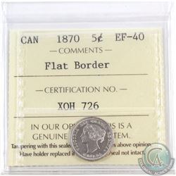 5-cent 1870 Flat Border ICCS Certified EF-40