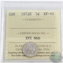 5-cent 1872H ICCS Certified EF-45