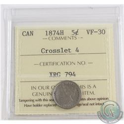 5-cent 1874H Crosslet 4 ICCS Certified VF-30